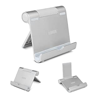 Anker® Multi-Angle Portable Stand for Tablets 7-10 inch, E-readers and Smartphones, Durable Aluminum Body, Compatible for Apple iPads iPad Air, iPad Mini / New iPad Mini, iPhone 5S 5C 5 4S 4; Samsung Galaxy Tab 2 Tab 3 Tab 4 , Note 8.0 10.1, S5, S4, S3, S2,Galaxy S4 S5; Google Nexus 4,7,10; Asus EeePad Transformer, New HTC One (M8),Lenovo Tab