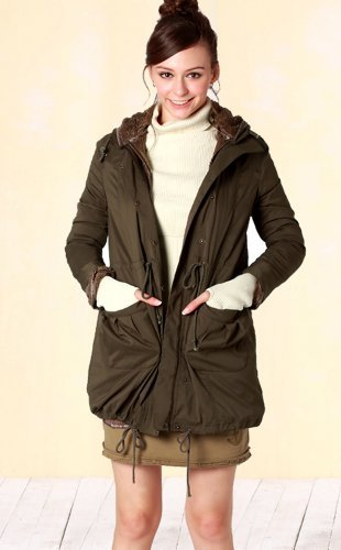 Mod's style Maternity Coat with a baby pouch (sw9347) Khaki UK size 12-14