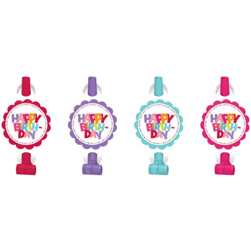 "Amscan Polka Dots & Pastels Birthday Girl Party Blowouts, Red/Violet/Magenta/Sky Blue, 5 5/8"" x 3 1/2"" - 1"