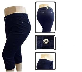 NEW 1826 Stretchy premium CAPRI DARK BLUE denim jeans HIGH WAIST WOMENS PLUS SIZE - 14-16-18-20-22 (PC-680) (14)
