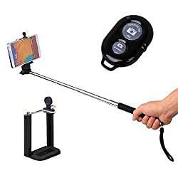 Extendable Self Portrait Selfie Handheld Stick Monopod + Wireless Bluetooth Remote Control For Intex Cloud 4G Star