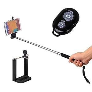 Extendable Self Portrait Selfie Handheld Stick Monopod + Wireless Bluetooth Remote ControlFor Intex Aqua 3G NS