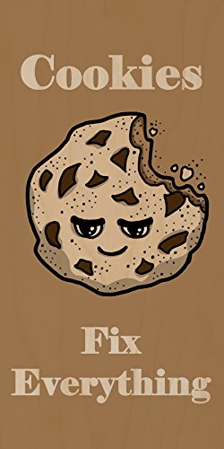 """""""Cookies Fix Everything"""" Food Humor Cartoon - Plywood Wood Print Poster Wall Art front-254166"""