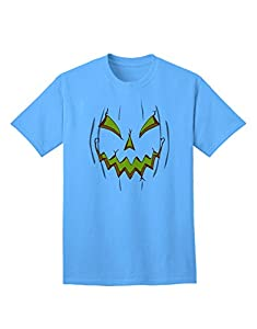 Scary Glow Evil Jack O Lantern Pumpkin Adult T-Shirt - Aquatic-Blue - Medium