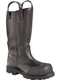 Men's Thorogood 14 inch Structural Firefighting Oblique Steel Toe Waterproof Bunker Boots, BLACK, 9