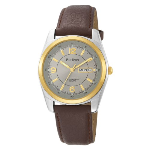 Armitron+Men%27s+Round+Two-Tone+Brown+Leather+Dress+Watch+%23201925GYBN