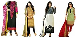 Sky Global Women's Printed Unstitched Regular Wear Salwar Suit Dress Material (Combo pack of 4)(SKY_Combo_359)(Dress_222_FreeSize_Multi-coloured)(SKY_508_Beige)(Black_Dress_523)(SKY_513_MultiColour)