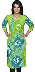Devansh Women's Free Size Green Stitched Long Cotton Kurtis