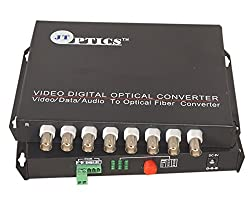 JT OPTICS 8 Channel Analog CCTV Video to Fiber Optical Converter with RS485 Return data Over Single Mode Optical fiber upto 20Km