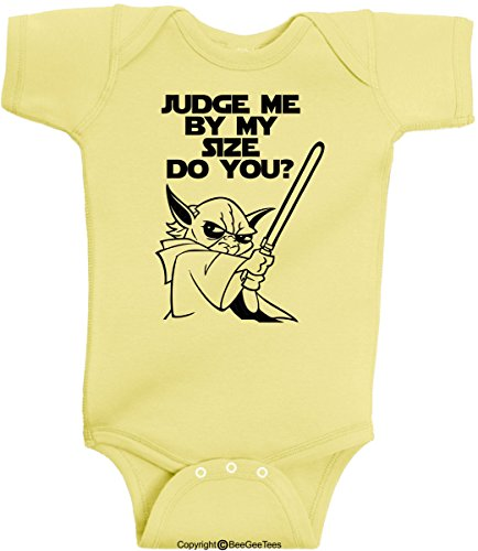 Judge Me By My Size Do You 2 Funny Star Wars Onesie Bodysuit Romper by BeeGeeTees® (12 Months, Banana)
