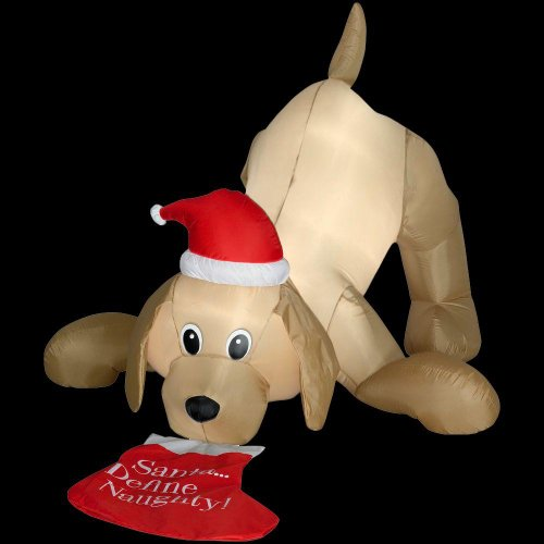 Christmas Decoration Lawn Yard Inflatable Airblown Animated Golden Retriever Dog With Santa Hat And Stocking 4' front-410107