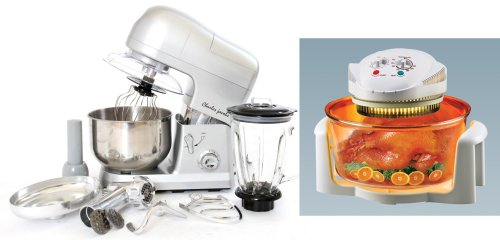 PACKAGE DEAL Kitchen Powerful 3 in 1 FOOD STAND MIXER INC Blender,Meat Grinder 5L in SILVER + 12 LTR Halogen OVEN Cooker in WHITE with/COOK BOOK and ACCESSORIES from Charles Jacobs from Charles Jacobs