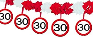 Wabenpapier-Girlande Verkehrsschild 30. Geburtstag 4 m