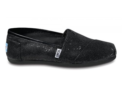 TOMS Women's TOMS GLITTER CLASSICS CASUAL SHOES 7 (BLACK GLITTER)
