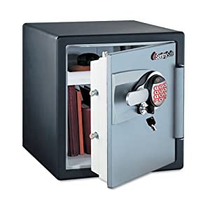 Sentry Safe Electronic Safe, 1.2 ft3, 16-11/32w x 19-5/16d x 17-27/32h, Black/Gunmetal Gray