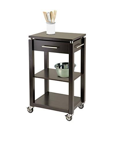 Luxury Home Linea Modern Kitchen Cart, Dark Espresso