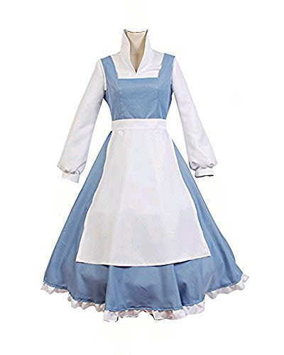 [COSSKY® Beauty And The Beast Cosplay Costume Princess Belle Outfit Maid Dress (Women-S)] (Beauty And The Beast Costume Belle)