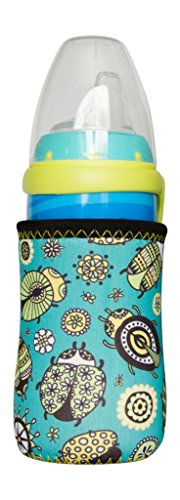 Kidzikoo - #1 Neoprene Baby Bottle/Sippy Cup Insulator Cooler Coozie - Insects & Flowers