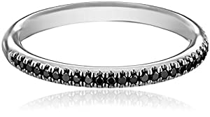 Kobelli Noir White Gold Round Black Diamond Band , Size 7 (1/5 cttw, H-I Color, I1-I2 Clarity)