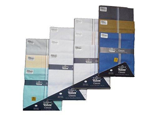 Ritex Multi Colour 100% Cotton Handkerchiefs for Men- Pack Of 12 Pcs.