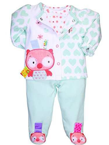 Taggies Baby Girl 3 Piece Owl Footed Pants Outfit By Taggies - Pink - 3 Mths / 8-12 Lbs front-815622