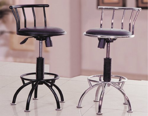 A Set of 2 Adjustable Swivel Bar Stool in Black #AD 6151