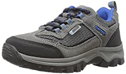 Hi-Tec Hillside Low Waterproof JR Hiking Shoe (Toddler/Little Kid/Big Kid),Charcoal/Blue/Black,2 M US Little Kid