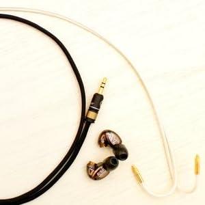 【SHURE用】Null Audio Studio 社 『 Lune 』 with ViaBlueプラグ SE535, SE425等 アップグレード Silver ケーブル (約1.2m, ブラック×ホワイト)