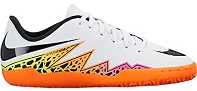 Nike Jr. Hypervenom Phelon II IC Indoor Soccer Shoe (White, Total Orange, Volt)