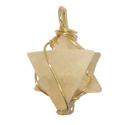 Moonstone Pendant 10 White Peach Star David Gold Wire Wrapped Stone 1.5