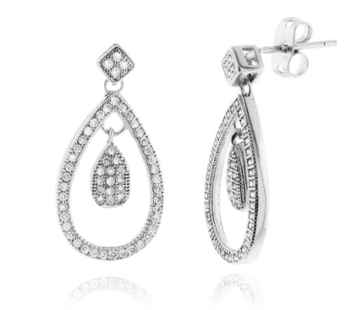Sterling Silver 925 Micro-pave Genuine Diamond Accents 0.25cts (Color H-I, Clarity I2-I3) Dangle Teardrop Earrings