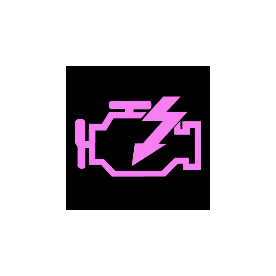 CHECK ENGINE LIGHT   5 PINK   Vinyl Decal Sticker   NOTEBOOK, LAPTOP, WALL, WINDOW, CAR, TRUCK, MOTORCYCLE, ETC.