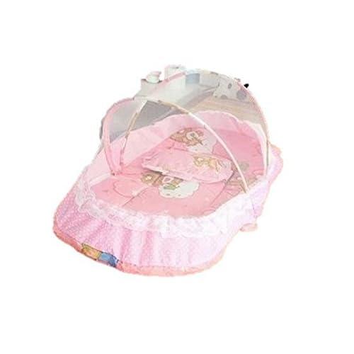 ベビー ベッド 蚊帳 付き 虫よけ ベビー 赤ちゃん 桃色 ピンク 青 ブルー 枕 ファスナー 付き (ピンク)