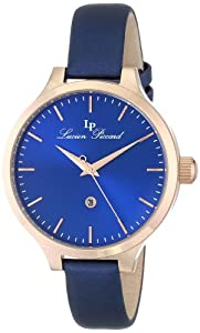 """Lucien Piccard Women's LP-12917-RG-03 """"Lleida"""" Rose Gold Ion-Plated Watch with Blue Satin Strap"""