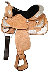 Buy 13 Light Leather Silver Show Saddle Fully Tooled Youth Pony by Double T