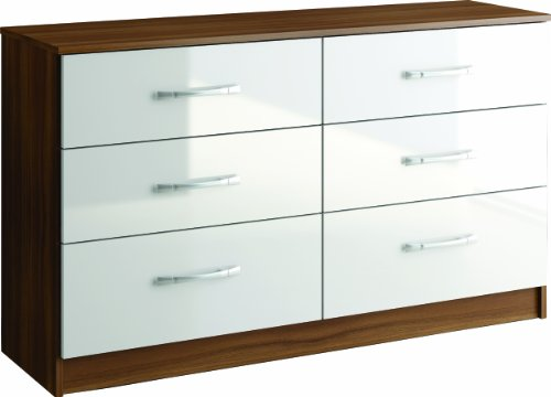 Birlea Lynx 6-Drawer Chest, Walnut/ White
