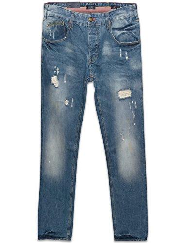 Armani Jeans Denim Jeans Slim Fit Rip effetto luce blu lavaggio J23 28x34