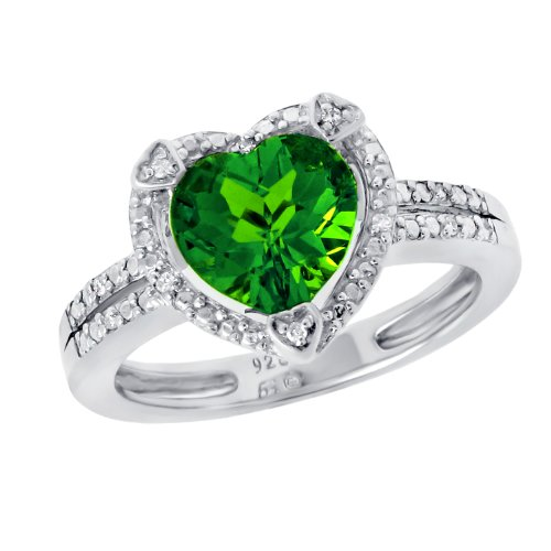 Silver Heart Shape Created Emerald with .03 Cttw Diamonds Ring, Size 7