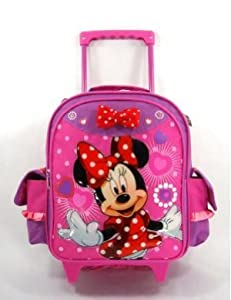 "Disney Minnie Mouse All About Bow 12"" Toddler Size Rolling Luggage Backapck"