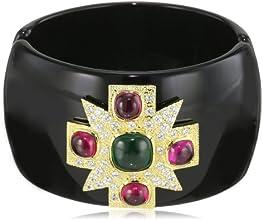 CZ by Kenneth Jay Lane 18k Gold-Plated Cubic Zirconia Maltese Cross Cuff Bracelet