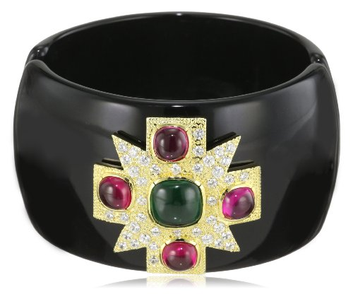 CZ by Kenneth Jay Lane Maltese Cross 18k Gold-Plated Cubic Zirconia Cuff Bracelet
