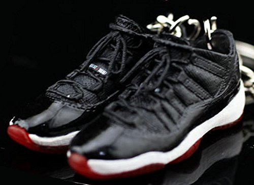 Air Jordan XI 11 Retro Low Bred Black Red OG Sneakers Shoes 3D Keychain Figure