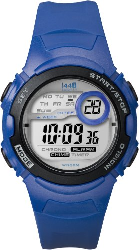 Timex Women's T5K596 1440 Sports Digital Mid-Size Blue Resin Watch