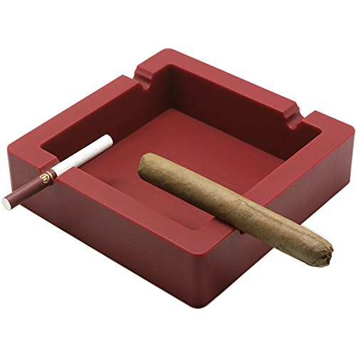 Oilp Large Cigar Ashtray Big Cigarette Ashtray Unbreakable Silicone Ashtrays,4 Cigars and Cigarettes Dual-use Grooves to Rest Cigar or Cigarette for Outdoor Ashtray Home Décor (Red)