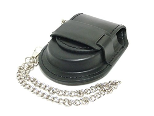 Chain pocket watch case with (antiques United Kingdom wind leather type storage mechanical automatic winding for classic) (black)