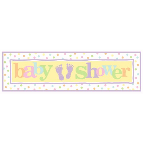 "Amscan Adorable Baby Steps Giant Baby Shower Party Sign Banner, 65"" x 20"", Multicolor"