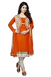 DnVeens Orange A-Line Salwar Suit Dress Material