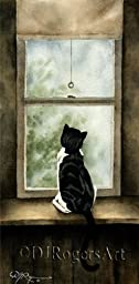 ''Looking Out'' Tuxedo Cat Watercolor Art Print Signed by Artist DJ Rogers