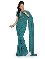 Designersareez Women Chiffon Printed Teal Saree With Unstitched Blouse(667)