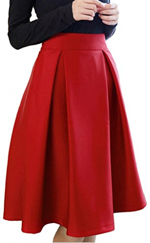 Eyekepper-Womens-Solid-Vintage-Women-High-Waist-Full-A-Line-Pleated-Skirts